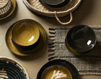 Athezza-Vaisselle-Grimaud-Bronze-et-Mousse-set-de-table-madrid-Corbeille-Nairobi-et-Madrid
